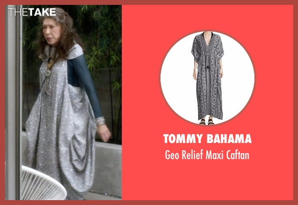 Tommy Bahama gray caftan from Grace and Frankie seen with Frankie Bergstein (Lily Tomlin)