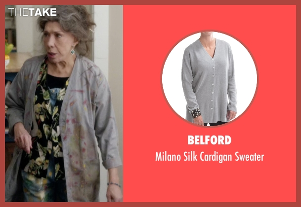 Marc Jacobs gray cardigan from Grace and Frankie seen with Frankie Bergstein (Lily Tomlin)