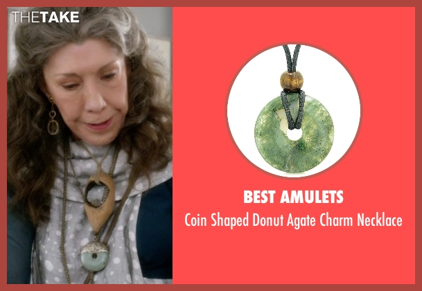 Macy's green necklace from Grace and Frankie seen with Frankie Bergstein (Lily Tomlin)