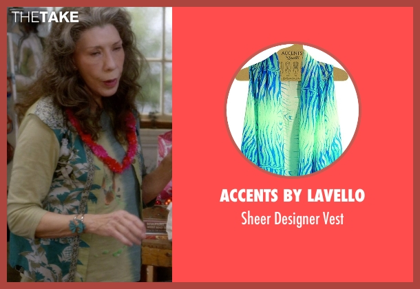 Accents By Lavello green vest from Grace and Frankie seen with Frankie Bergstein (Lily Tomlin)