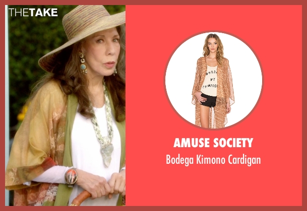 Amuse Society orange cardigan from Grace and Frankie seen with Frankie Bergstein (Lily Tomlin)