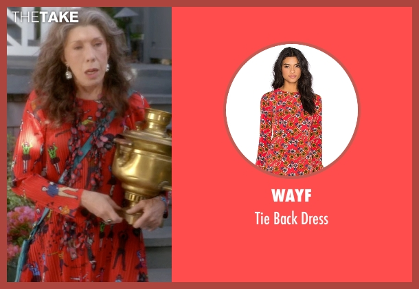 Wayf orange dress from Grace and Frankie seen with Frankie Bergstein (Lily Tomlin)