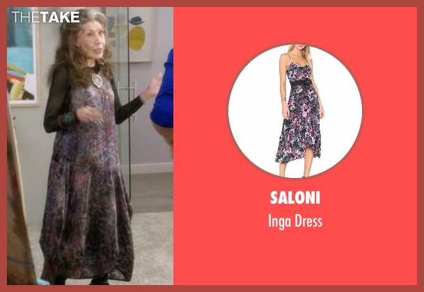 Saloni purple dress from Grace and Frankie seen with Frankie Bergstein (Lily Tomlin)