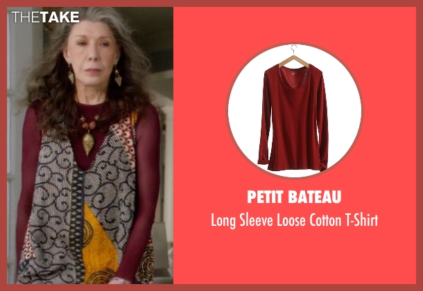 Petit Bateau red t-shirt from Grace and Frankie seen with Frankie Bergstein (Lily Tomlin)
