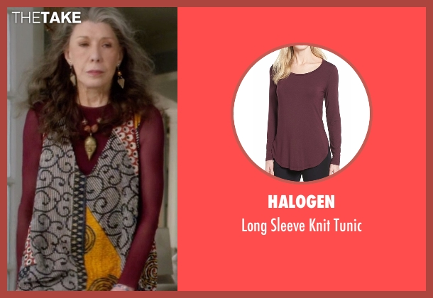 Halogen red tunic from Grace and Frankie seen with Frankie Bergstein (Lily Tomlin)