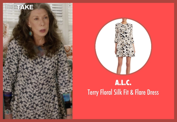 Joie  white dress from Grace and Frankie seen with Frankie Bergstein (Lily Tomlin)