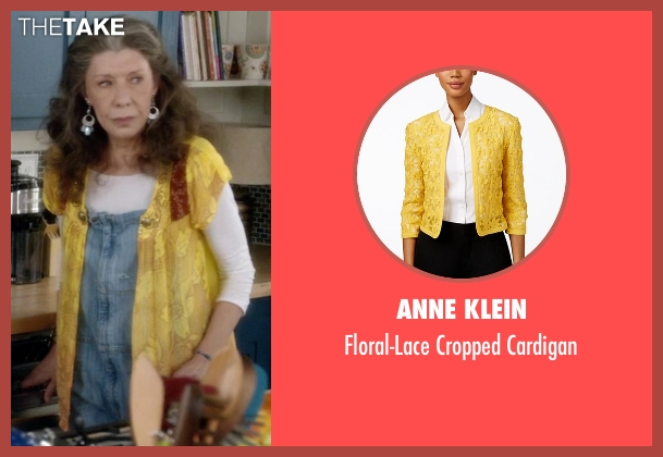 Anne Klein yellow cardigan from Grace and Frankie seen with Frankie Bergstein (Lily Tomlin)