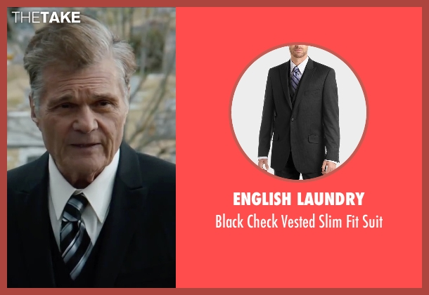 English Laundry black suit from Anchorman 2: The Legend Continues seen with Fred Willard (Ed Harken)