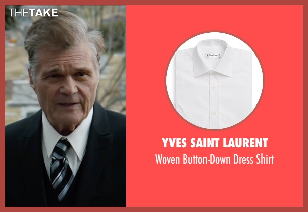 Yves Saint Laurent white shirt from Anchorman 2: The Legend Continues seen with Fred Willard (Ed Harken)