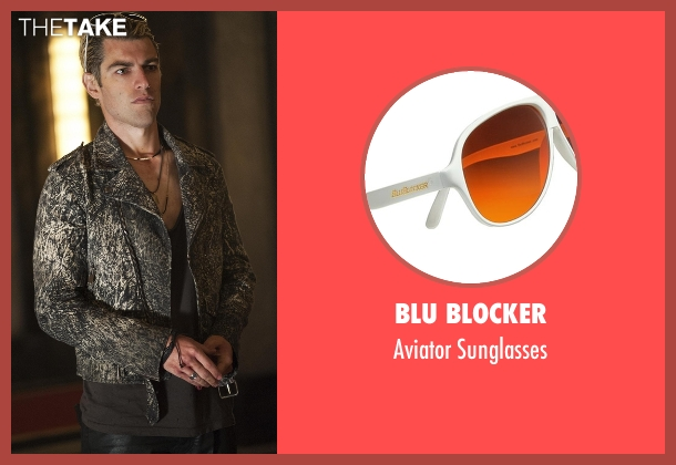 Blu Blocker white sunglasses from American Horror Story seen with Gabriel (Max Greenfield)