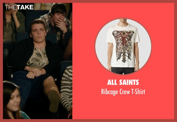 All Saints beige t-shirt from Barely Lethal seen with Gabriel Basso (Gooch)