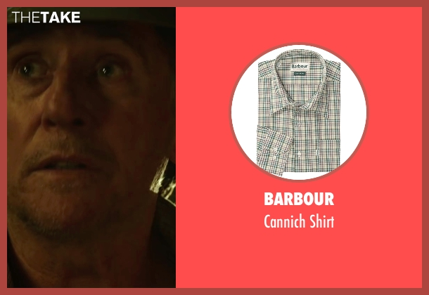 Barbour green shirt from The 33 seen with Gabriel Byrne (Andre Sougarret)