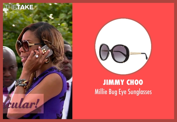 Jimmy Choo black sunglasses from Top Five seen with Gabrielle Union (Erica Long)