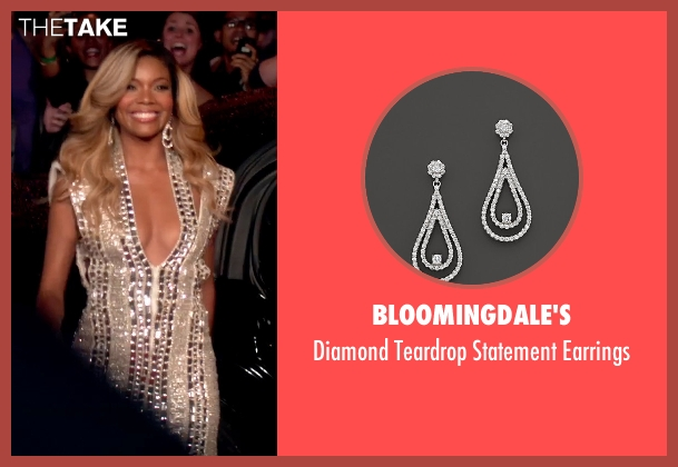 Bloomingdale's white earrings from Top Five seen with Gabrielle Union (Erica Long)
