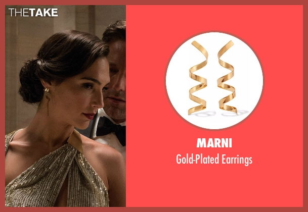 Marni gold earrings from Batman v Superman: Dawn of Justice seen with Gal Gadot (Diana Prince / Wonder Woman)