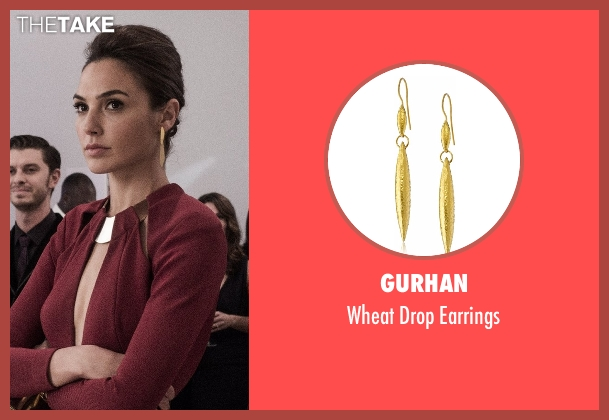 Gurhan gold earrings from Batman v Superman: Dawn of Justice seen with Gal Gadot (Diana Prince / Wonder Woman)
