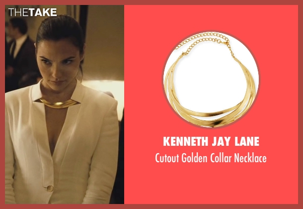 Kenneth Jay Lane gold necklace from Batman v Superman: Dawn of Justice seen with Gal Gadot (Diana Prince / Wonder Woman)