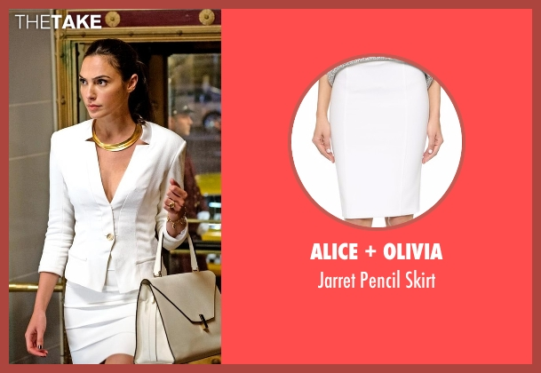 Alice + Olivia white skirt from Batman v Superman: Dawn of Justice seen with Gal Gadot (Diana Prince / Wonder Woman)