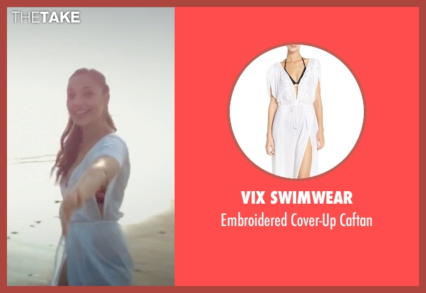 ViX Swimwear white caftan from Criminal seen with Gal Gadot (Jill Pope)
