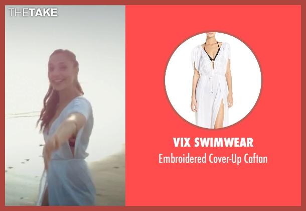 ViX Swimwear white caftan from Criminal seen with Gal Gadot (Jill Pope)