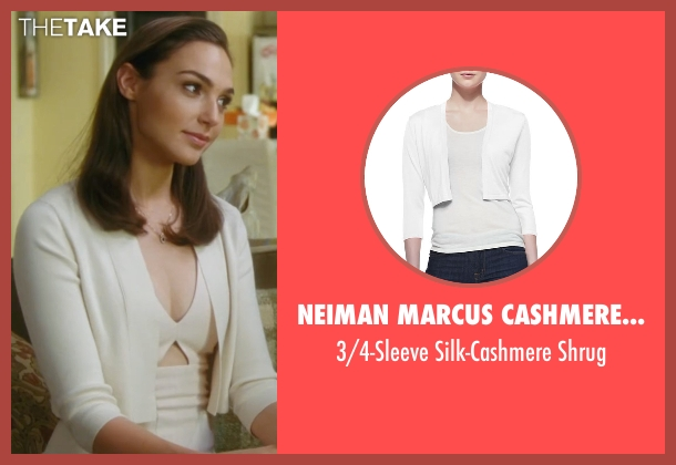 Neiman Marcus Cashmere Collection white shrug from Keeping Up with the Joneses seen with Gal Gadot (Natalie Jones)