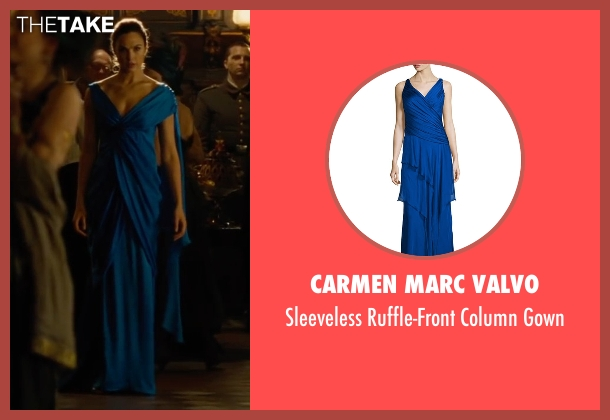 Carmen Marc Valvo blue gown from Wonder Woman seen with Gal Gadot (Diana Prince / Wonder Woman)