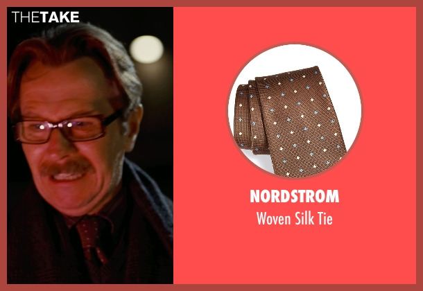 Nordstrom brown tie from The Dark Knight Rises seen with Gary Oldman (Commissioner Gordon)