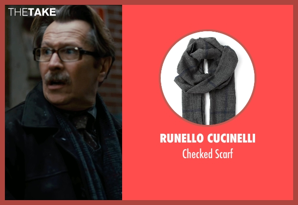 Runello Cucinelli gray scarf from The Dark Knight Rises seen with Gary Oldman (Commissioner Gordon)
