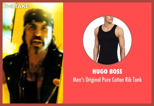 Hugo Boss black tank from Savages seen with Gary Stretch (Bad Ass Biker)