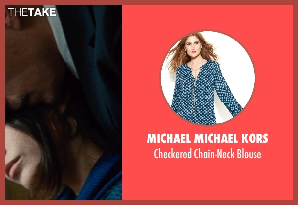 Michael Michael Kors blue blouse from Run All Night seen with Genesis Rodriguez (Gabrielle)