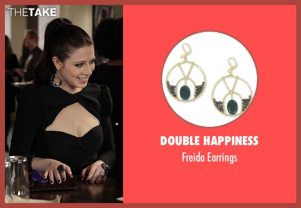 Double Happiness gold earrings from Gossip Girl seen with Georgina Sparks (Michelle Trachtenberg)