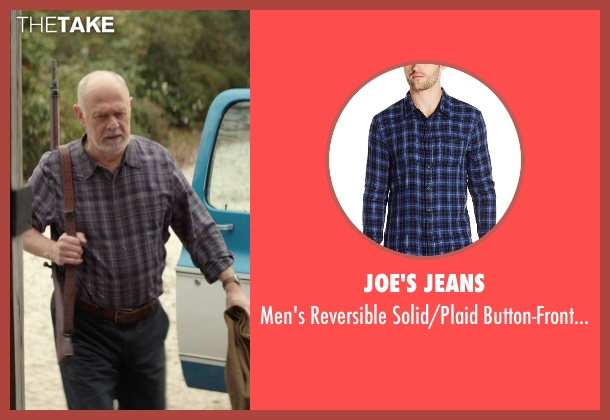Joe's Jeans blue shirt from The Best of Me seen with Gerald McRaney (Tuck)