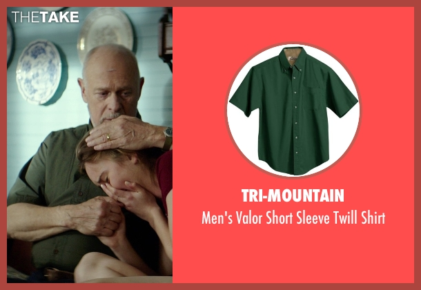 Tri-Mountain green shirt from The Best of Me seen with Gerald McRaney (Tuck)