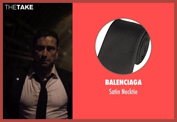Balenciaga black necktie from London Has Fallen seen with Gerard Butler (Mike Banning)