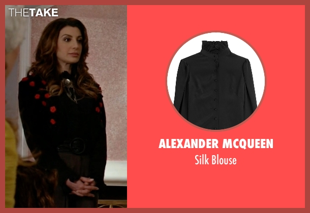 Alexander McQueen black blouse from Scream Queens seen with Gigi Caldwell (Nasim Pedrad)