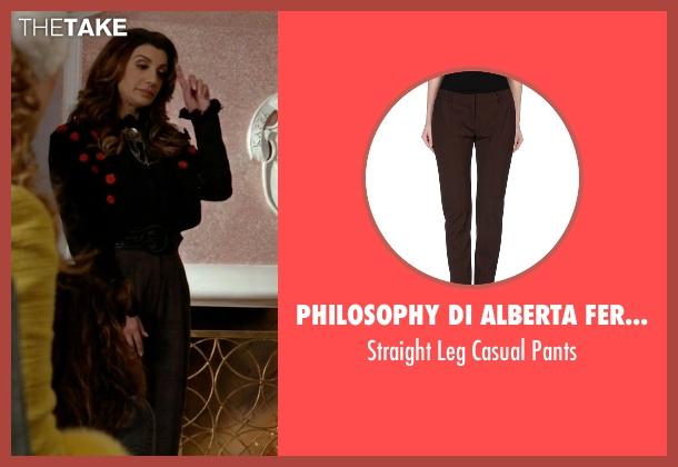 Philosophy di Alberta Ferretti brown pants from Scream Queens seen with Gigi Caldwell (Nasim Pedrad)