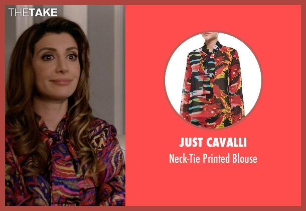 Just Cavalli purple blouse from Scream Queens seen with Gigi Caldwell (Nasim Pedrad)