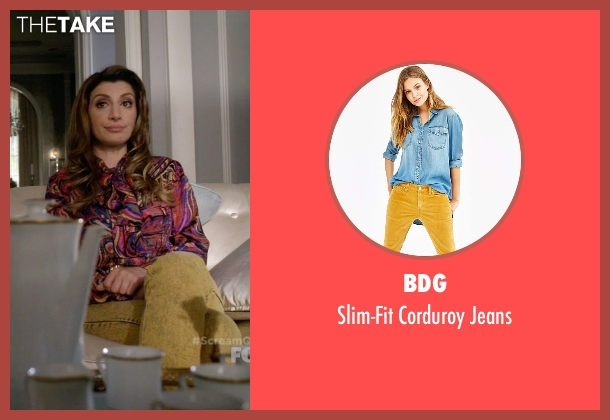BDG yellow jeans from Scream Queens seen with Gigi Caldwell (Nasim Pedrad)