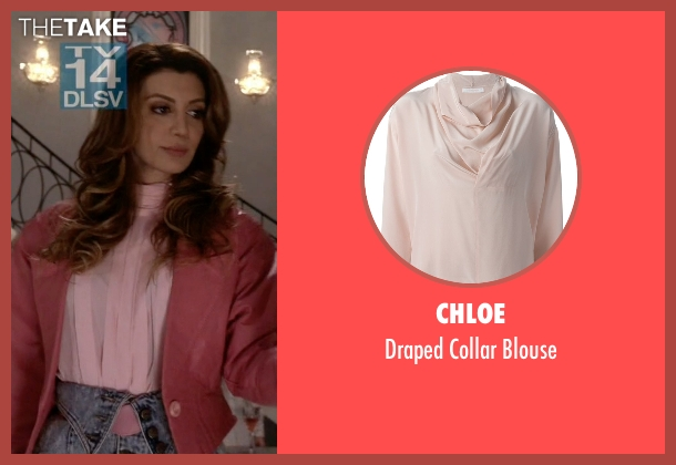 Chloe pink blouse from Scream Queens seen with Gigi (Nasim Pedrad)