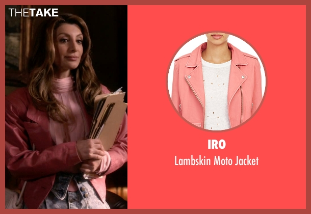 Iro pink jacket from Scream Queens seen with Gigi (Nasim Pedrad)
