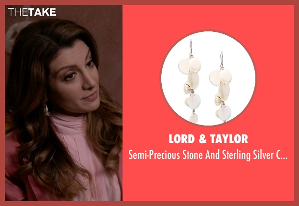 Lord & Taylor white earrings from Scream Queens seen with Gigi (Nasim Pedrad)