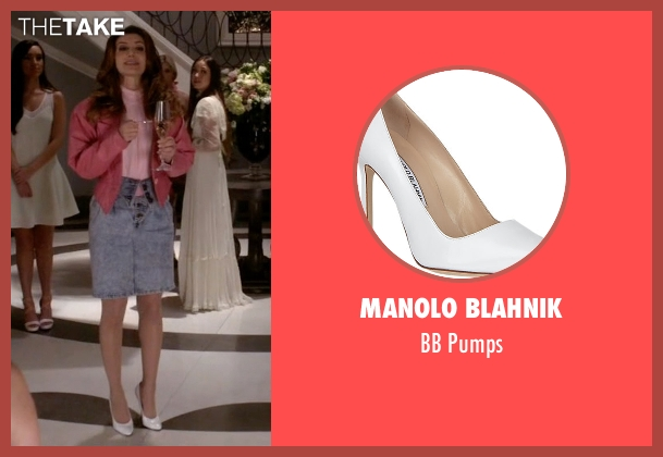 Manolo Blahnik white pumps from Scream Queens seen with Gigi (Nasim Pedrad)