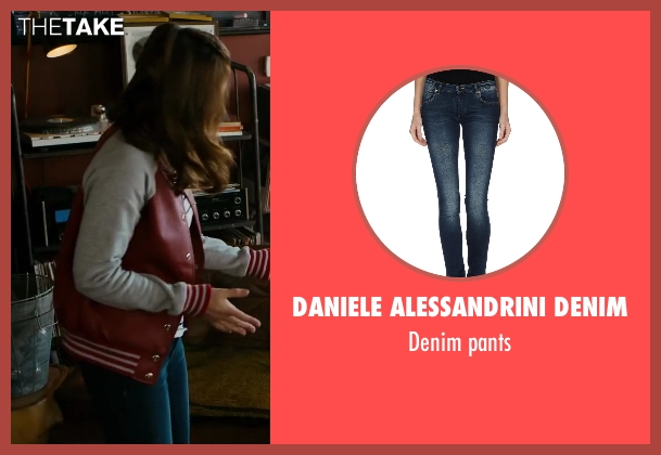 DANIELE ALESSANDRINI DENIM blue pants from Walk of Shame seen with Gillian Jacobs (Rose)