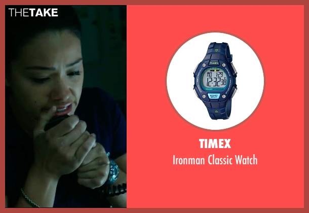 Timex blue watch from Deepwater Horizon seen with Gina Rodriguez (Andrea Fleytas)