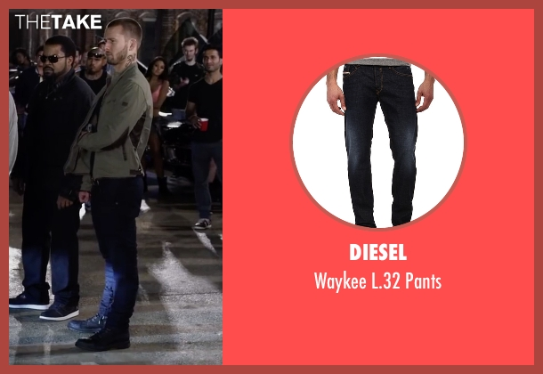 Diesel blue pants from Ride Along 2 seen with Glen Powell (Troy Bolton)