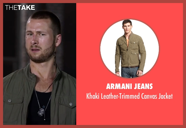 Armani Jeans green jacket from Ride Along 2 seen with Glen Powell (Troy Bolton)
