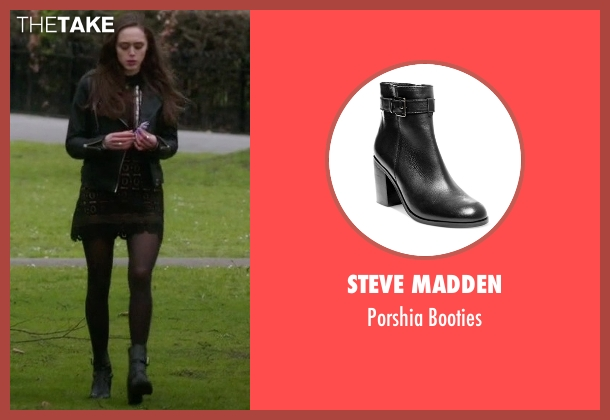 Steve Madden black booties from Guilt seen with Grace Atwood (Daisy Head)