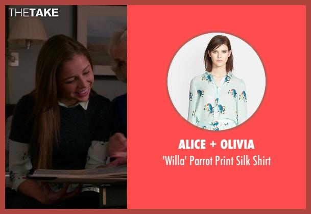 Alice + Olivia white shirt from The Good Wife seen with Grace Florrick (Makenzie Vega)