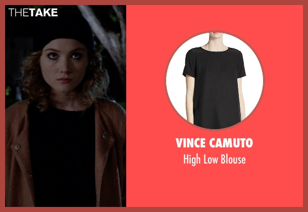 Vince Camuto black blouse from Scream Queens seen with Grace Gardner (Skyler Samuels)