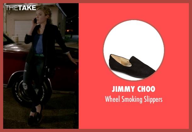 Jimmy Choo black slippers from Scream Queens seen with Grace Gardner (Skyler Samuels)